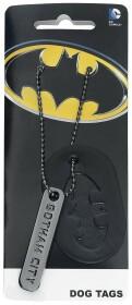 Pendentif Batman plaque et chaîne Gotham City et logo Batman