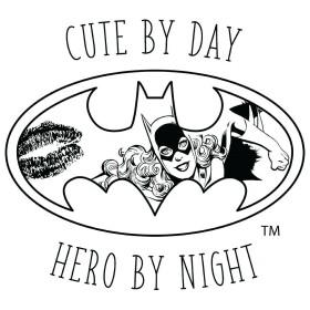 T-shirt Femme Batgirl Cute by Day Hero by Night Blanc