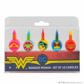 Lot de 10 bougies Anniversaire Logo Wonderwoman
