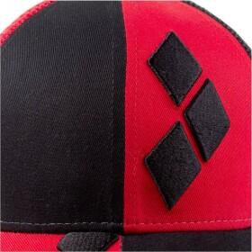 Casquette noire et rouge Logo Harley Quinn visière arrondie