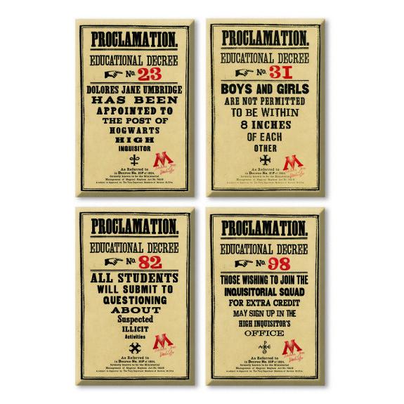 Lot de 4 magnets Les proclamations du Ministère de la Magie MinaLima