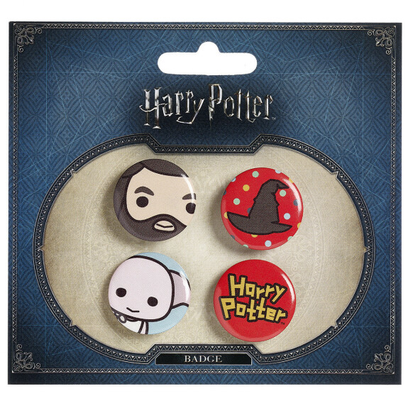 Lot de 4 badges chibi Hagrid/Chapeau/Dobby
