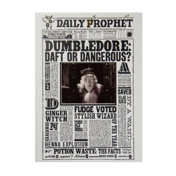 Carte de voeux lenticulaire Gazette du Sorcier Albus Dumbledore - idiot ou dangereux ?