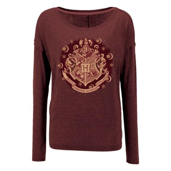Sweatshirt Femme blason Poudlard rouge chiné