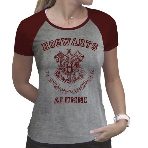 T-shirt Hogwarts Alumni Femme gris et rouge