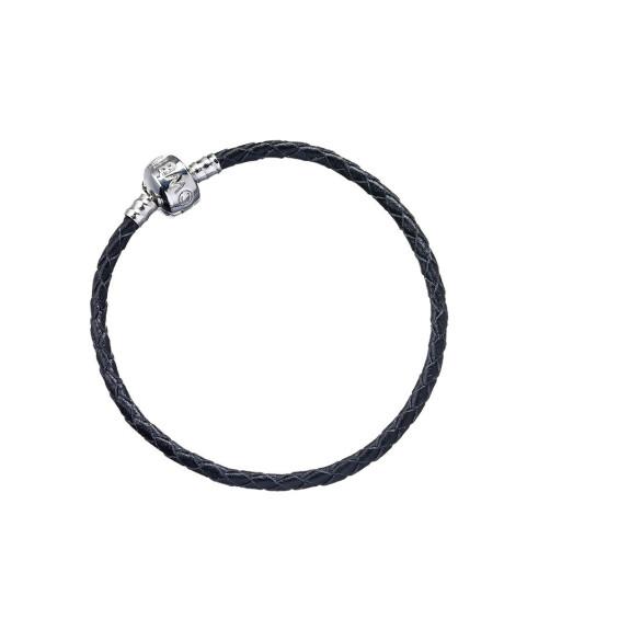 Bracelet à Charms en cuir noir