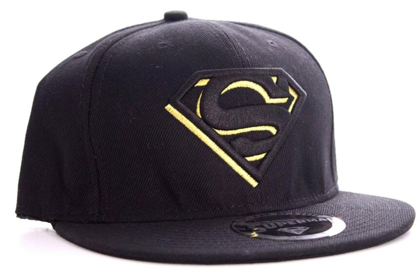 Casquette Superman logo noir et jaune