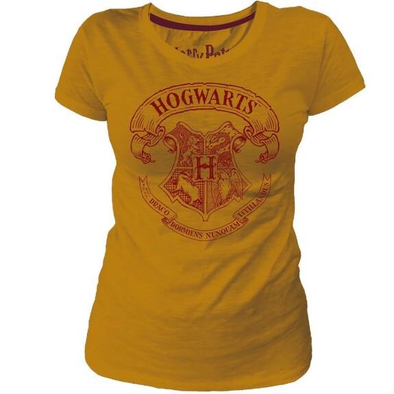 T-shirt Femme jaune blason Poudlard