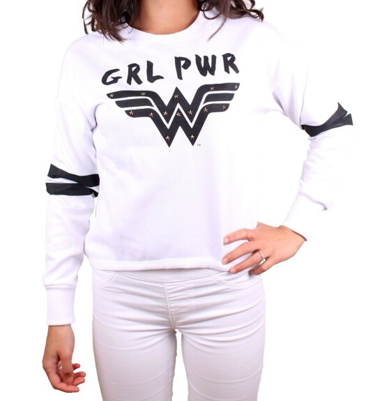 Sweat Wonder Woman blanc GRL PWR