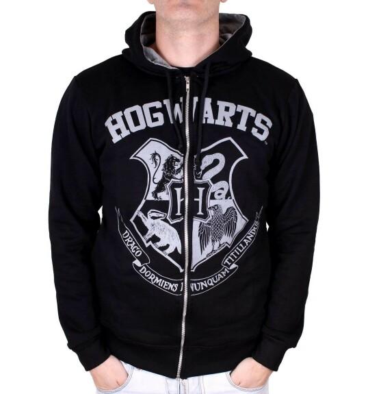 Sweatshirt zippé blason Poudlard vintage noir
