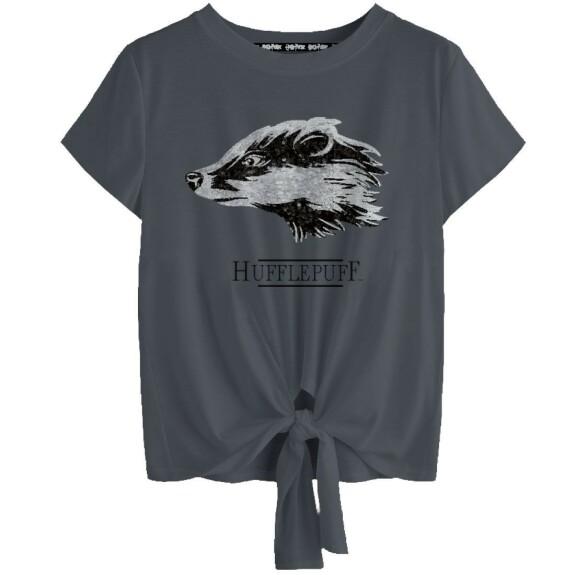 T-shirt Femme à sequins Poufsouffle anthracite