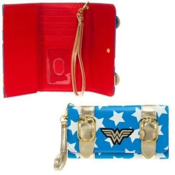 Portefeuille Wonder Woman blanc bleu doré