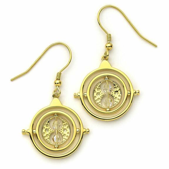 Boucles d'oreilles pendantes Retourneur de temps en argent 925ème plaqué or