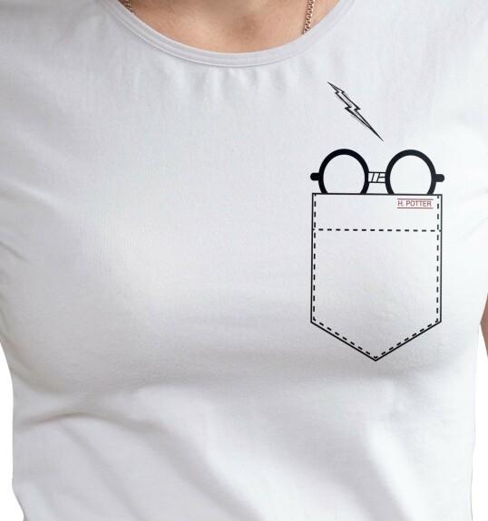 T-shirt Femme Lunettes dans la poche blanc