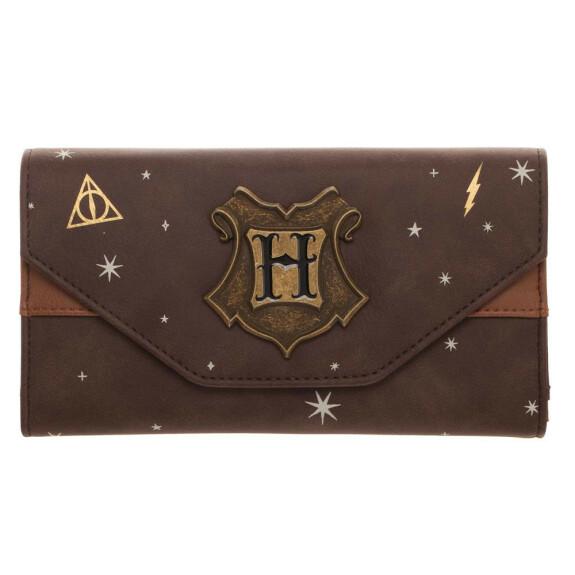 Portefeuille à rabat avec logo métal Poudlard