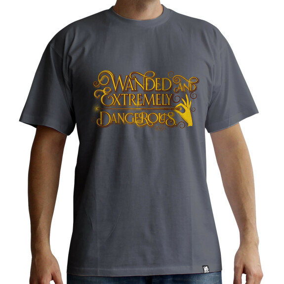 T-shirt Grindelwald Wanded and Extremly Dangerous gris foncé