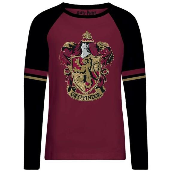 T-shirt Femme rouge et noir emblème Gryffondor doré