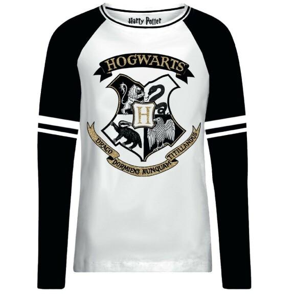 T-shirt Femme blanc et noir emblème Poudlard