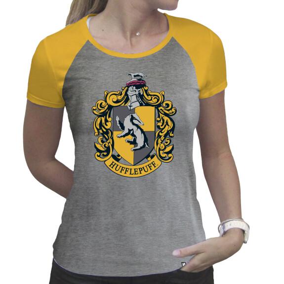 T-shirt Poufsouffle Femme gris et jaune premium