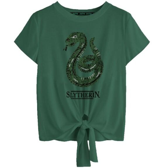 T-shirt Femme à sequins Serpentard vert