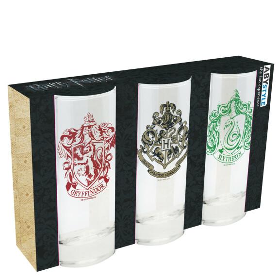 Set de 3 verres Gryffondor Poudlard Serpentard