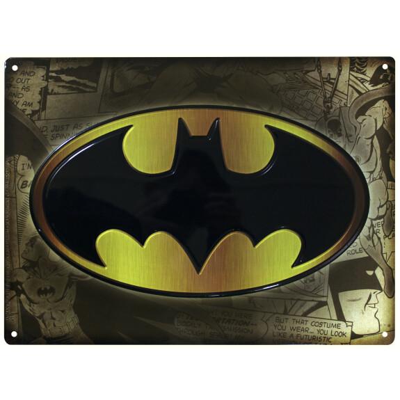 Plaque métal logo Batman 28x38cm