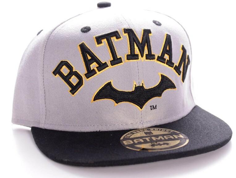Casquette Batman noire et blanche logo visière plate
