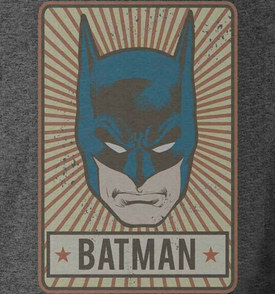 T-shirt Batman Vintage Face Anthracite chiné