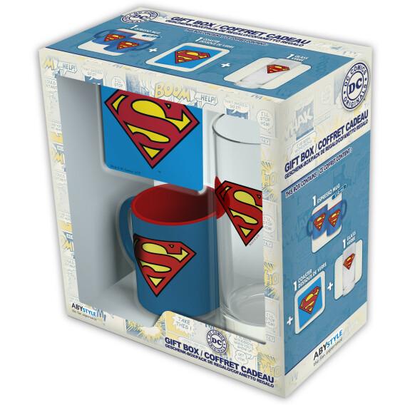 Coffret cadeau Superman mug expresso verre dessous de verre