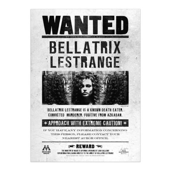 Poster Wanted Bellatrix Lestrange MinaLima