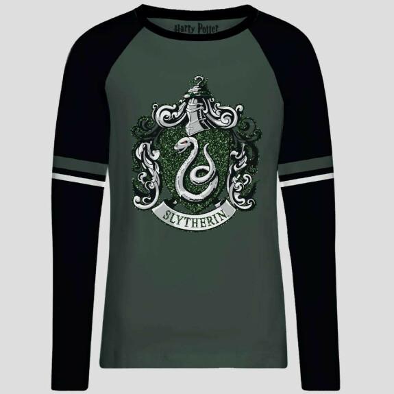 T-shirt femme vert et noir emblème Serpentard brillant