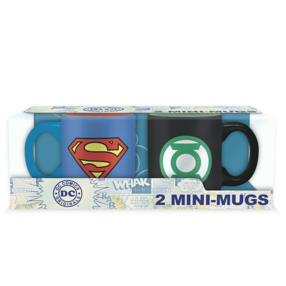 Set 2 mugs expresso Superman et Green Lantern