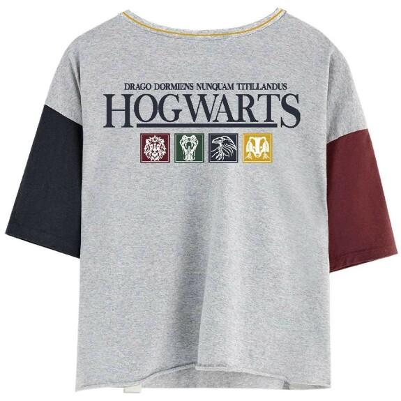 T-shirt Femme Poudlard Maisons gris-chiné