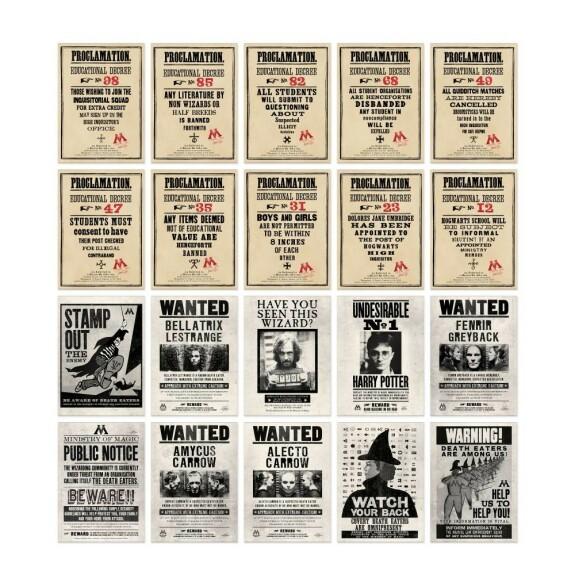 Lot de 20 cartes postales Proclamations Ministère de la Magie MinaLima
