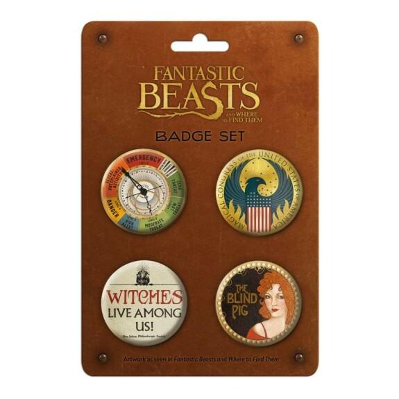 Lot de 4 badges Les Animaux Fantastiques MinaLima