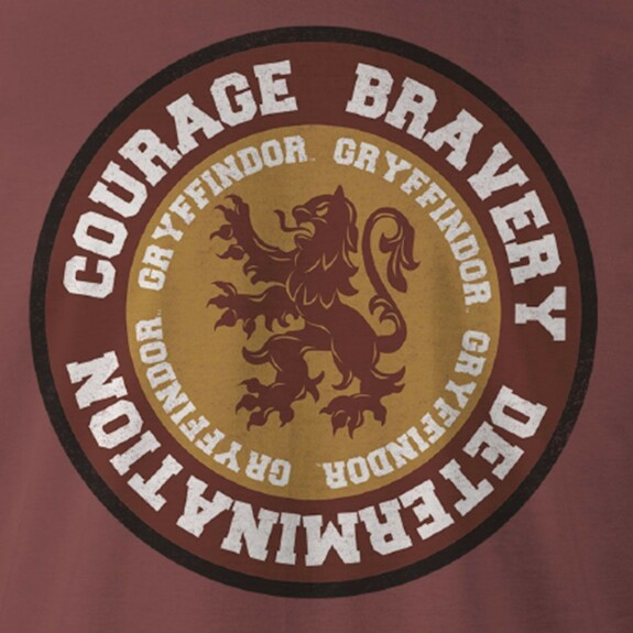 T-shirt Gryffondor Courage bordeaux chiné