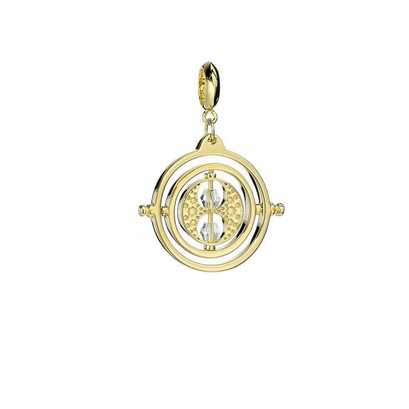 Pendentif Charm Retourneur de temps Argent 925ème plaqué or avec Cristaux de Swarovski