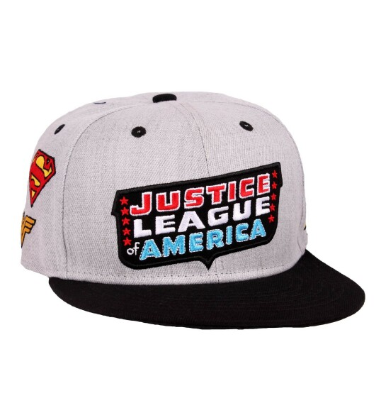 Casquette Justice League patch logos héros brodés
