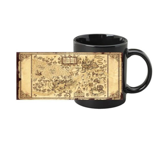 Mug Carte du Maraudeur Noir Thermoréactif