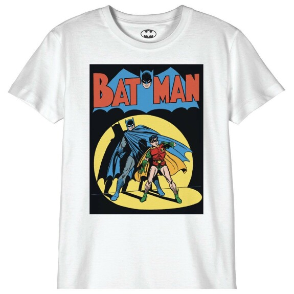 T-shirt Enfant Batman Vintage Comic Cover Blanc