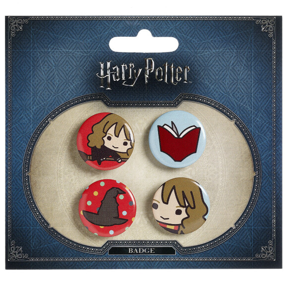 Lot de 4 badges chibi Hermione/Choixpeau