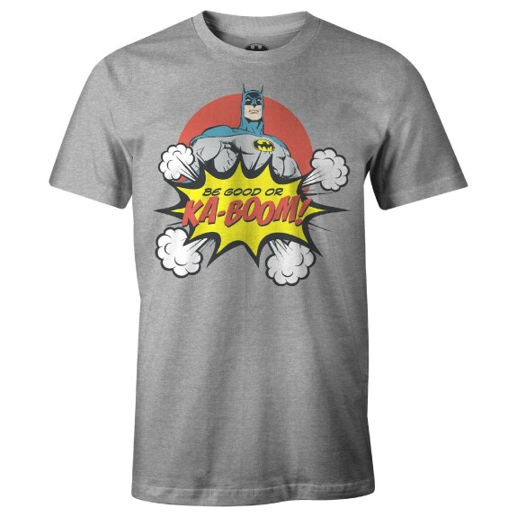 T-shirt Batman Be Good Or Ka-boom Gris-chiné
