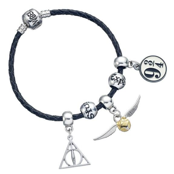 Ensemble Charm Harry Potter - Bracelet en cuir noir - Reliques de la mort - Vif d'or - Quai - 2 perles de sort