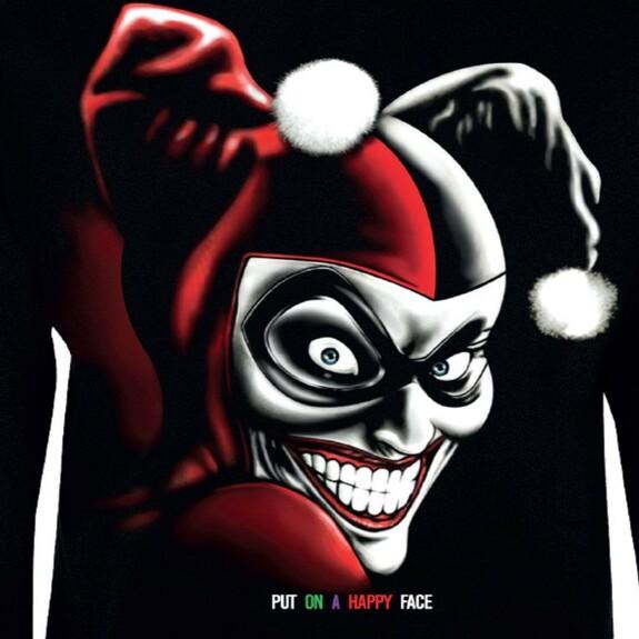 Sweat Femme Harley Quinn Put On A Happy Face couleur noir