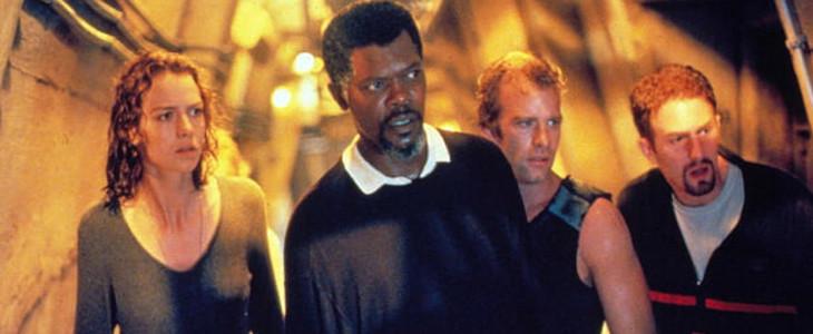 Saffron Burrows, Samuel L. Jackson, Thomas Jane et Michael Rapaport dans Peur Bleue