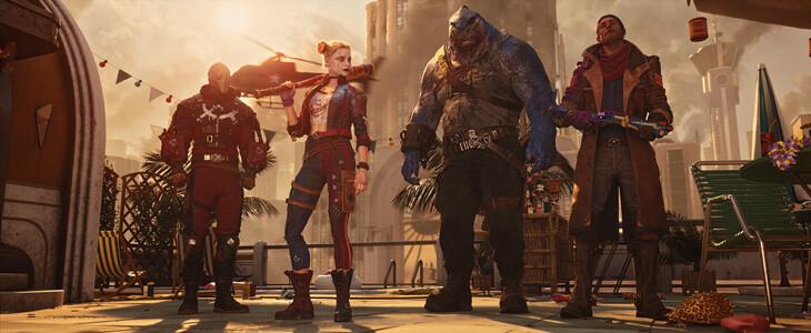 Harley Quinn, Deadshot, Captain Boomerang et King Shark dans Suicide Squad : Kill the Justice League