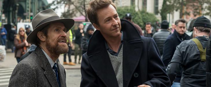 Willem Dafoe et Edward Norton sur le tournage de Brooklyn Affairs