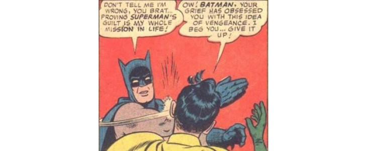 Batman gifle Robin dans le comics World's Finest #153