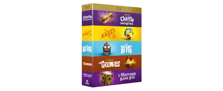 Coffret 5 films iconiques Aventures fantastiques - Charlie et la chocolaterie - Le magicien d'Oz - Le géant de fer - Les Goonies - L'Histoire sans fin