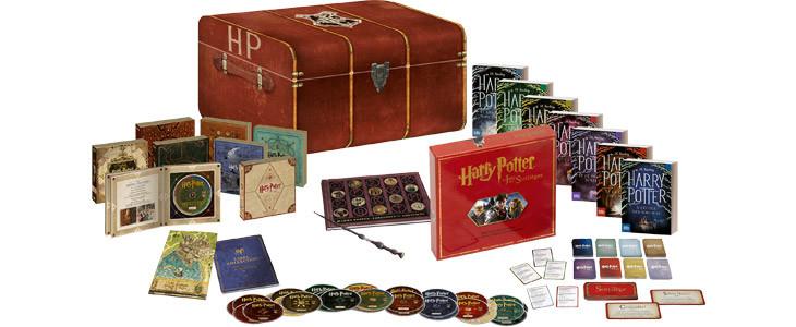 Coffret PRESTIGE : une malle Harry Potter contenant 8 films en DVD et Blu-Ray, 7 livres, une baguette de Sureau, une Carte de Poudlard, un Jeu des sortilèges..
